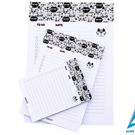 بسته کاغذ To do list - طرح گربه ای سایز بزرگ