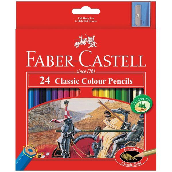 مداد رنگی 24 رنگ جعبه مقوایی فابرکستل
