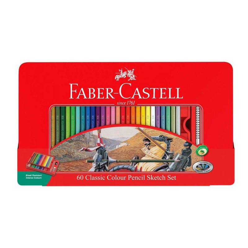 مداد رنگی 60 رنگ جعبه فلزی فابرکستل